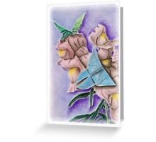 Origami Butterflies on Snapdragon Flowers Greeting Card