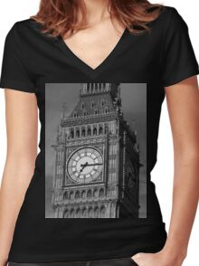Big Ben 3 B&W Women's Fitted V-Neck T-Shirt