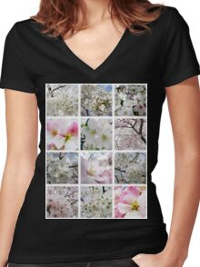 Cherry Blossoms Montage 1 Women's Fitted V-Neck T-Shirt
