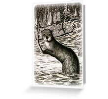 River Otter on Log Greeting Card