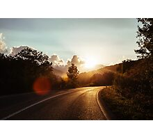 Road at sunset Photographic Print