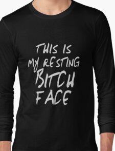 Resting Bitch Face Girls funny nerd geek geeky Long Sleeve T-Shirt