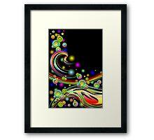 Rainbow Colors Abstract Swirls on Black Framed Print