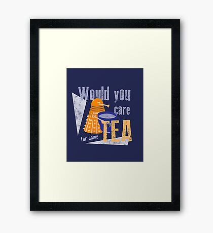 Dalek with Tea Framed Print