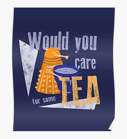 Dalek with Tea Poster