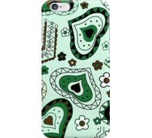 abstract green pattern with hearts iPhone Case/Skin
