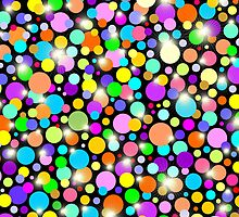 Psychedelic Colors Bright Polka Dots by BluedarkArt