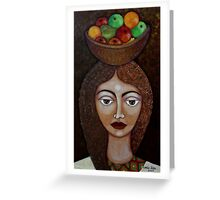 Big-eyed woman with fruits Greeting Card