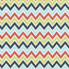 Orange Blue And Green Chevron Pattern by artonwear
