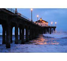 Manhattan Beach Pier Crashing Surf Photographic Print