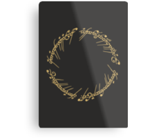 Lord of the Rings - The One Ring (Gold on Black) Metal Print
