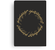 Lord of the Rings - The One Ring (Gold on Black) Canvas Print