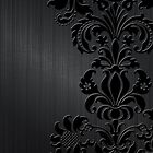 Black Floral Damask Over Dark Gray Metallic Design Brushed Aluminum Look by artonwear