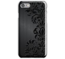 Black Floral Damask Over Dark Gray Metallic Design Brushed Aluminum Look iPhone Case/Skin