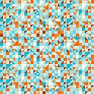 Orange Blue & White Geometric Abstract Pattern by artonwear