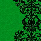 Black & Green Floral Vintage Damasks Design by artonwear