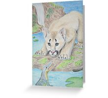 Baby Cougar with Aligator Greeting Card