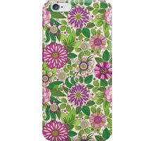 Retro Floral Design In Green White And Purple iPhone Case/Skin