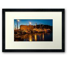 Fishing boats at the wharf Framed Print