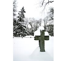 cross in snow Photographic Print
