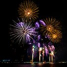 Purple and Gold Fireworks by Peter Gray