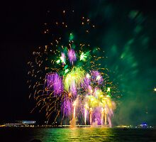 Purple and Green Fireworks by Peter Gray