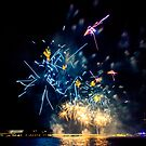 Blue squiggly Fireworks by Peter Gray