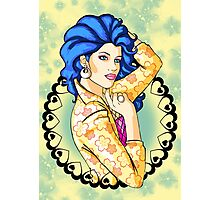 80s Blue-Haired Glamour Queen Photographic Print