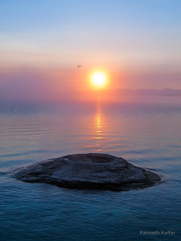 Fishing Cone in Yellowstone Lake at Sunrise by Kenneth Keifer