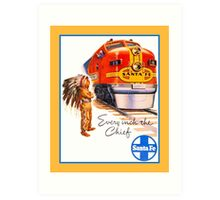 Santa Fe Chief train streamliner ad retro vintage Art Print