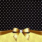 Elegant Black White Polka Golden Ribbon Diamond by scottorz