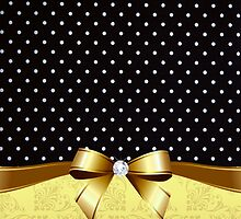 Elegant Black White Polka Golden Ribbon Diamond by scottorz