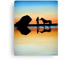 Rider and Horse Silhouette Canvas Print