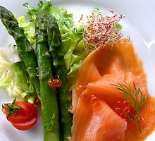 Asparagus with smoked salmon by photolcu