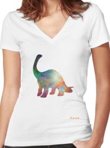 Space Diplodocus T-shirt Women's Fitted V-Neck T-Shirt
