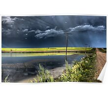 Storm Clouds Saskatchewan billowing clouds and gravel road Poster