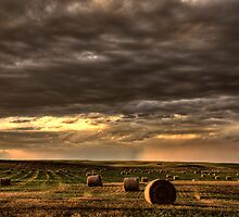 Storm Clouds Saskatchewan hay bales in Canada by pictureguy