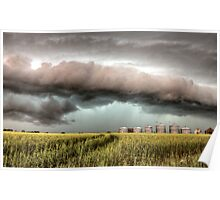 Storm Clouds Saskatchewan over planted wheat fields Poster