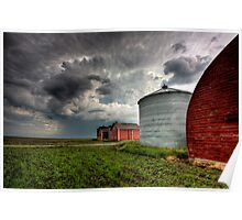 Storm Clouds Saskatchewan Red buildings granary storage Poster