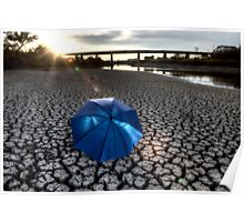Dried up River Bed and umbrella Poster
