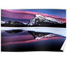 Sunset Mount Rundle Vermillion Lakes in Winter Poster