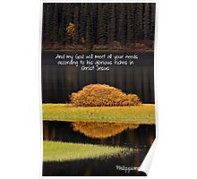 Water reflections in autumn Poster