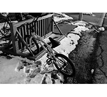 Wintry Bike Rack Photographic Print