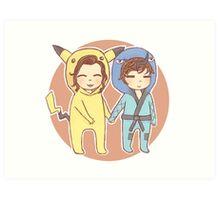 Pikachu & Sawk Art Print