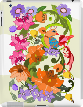 Tropical Bird and Damask flowers case by walstraasart