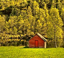 The Shed by the mountain Lake by © Kira Bodensted