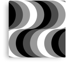Large Seventies zigzag black and white waves Canvas Print