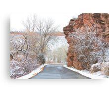 Red Rocks Winter Landscape Drive Canvas Print