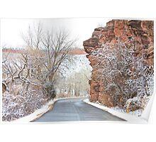 Red Rocks Winter Landscape Drive Poster