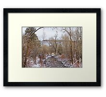 Winter Creek Red Rock Scenic Landscape View Framed Print